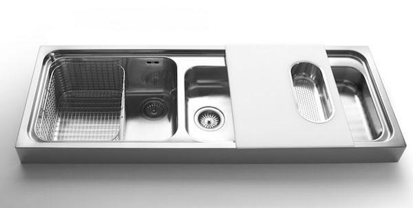 Lavabo da appoggio con tagliere scorrevole - design by Alpes Inox