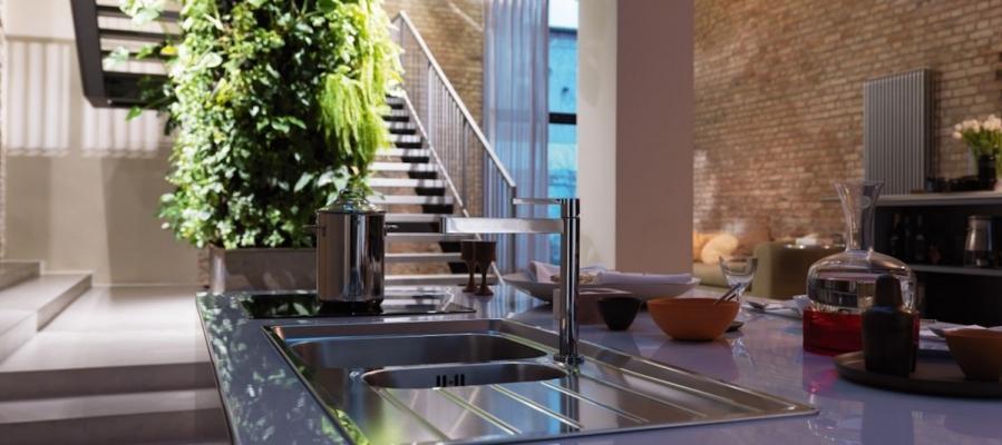 Lavello da cucina in acciaio inox con doppia vasca - Design by Franke