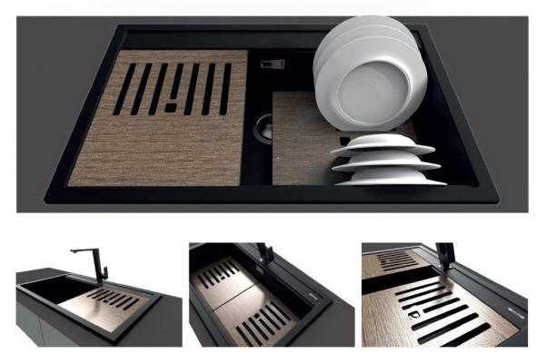 Lavello serie Element con taglieri ed accessori - Design by Elleci Italia