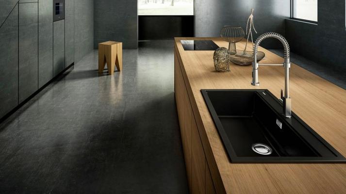 Lavabo ad incasso con vasca singola di colore nero - design by Elleci Italia
