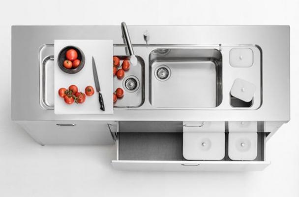 Lavabo in acciaio inox con doppia vasca ed accessori - Design by Alpes Inox