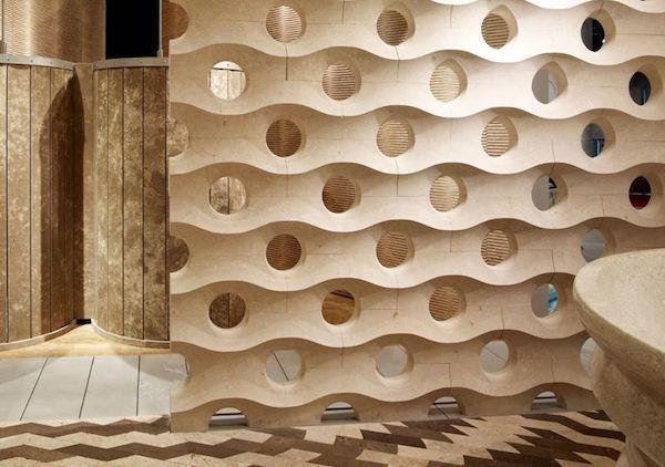 Modulo divisorio in marmo, collezione Muri di Pietra - Foto e progetto di Lithos Design
