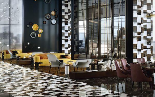 Pavimento e rivestimenti a parete in marmo colorato - Progetto e foto by Lithos Design