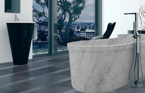 Vasca da bagno freestanding in marmo bianco - design e foto Edilmarmi