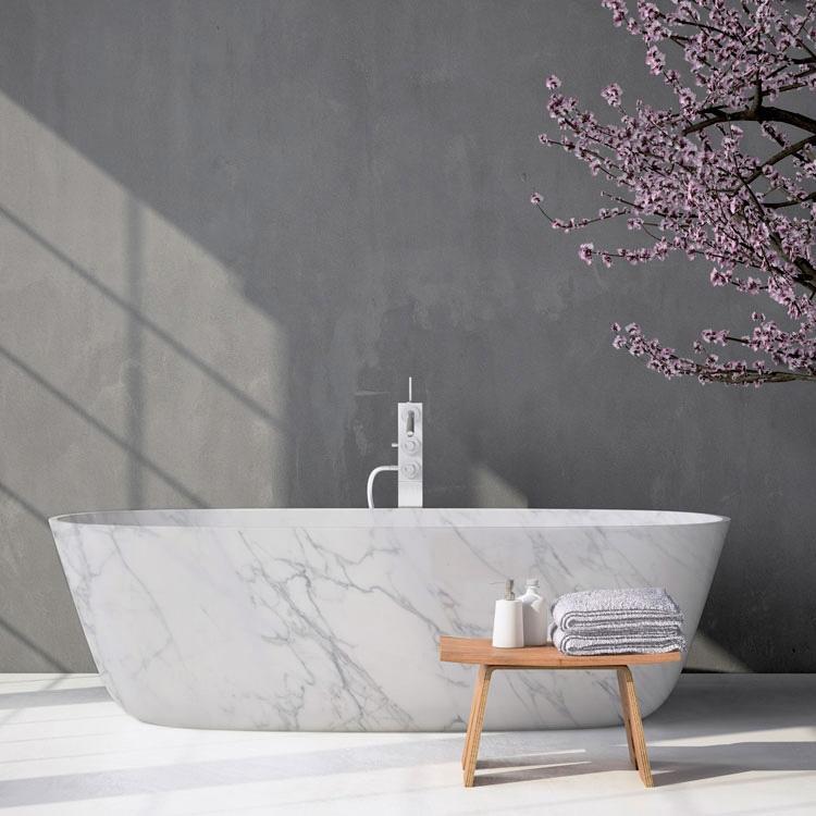 Vasca da bagno in marmo bianco di Carrara - Design e foto di Edilmarmi