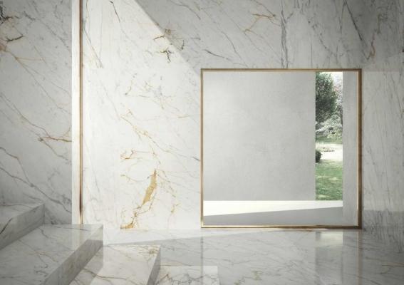 Collezione Grande Marble, marmo bianco lux e golden - Foto e design by Marazzi