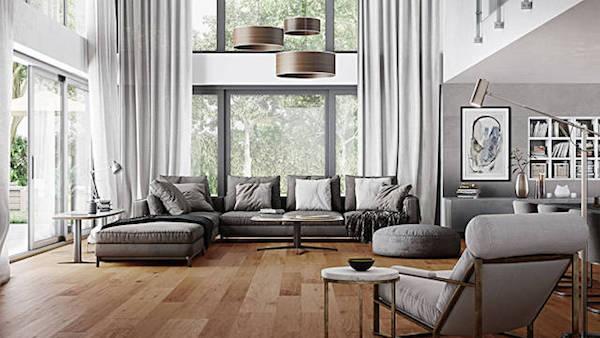 Pavimentazione salotto finto legno Venis Starwood, design by Porcelanosa
