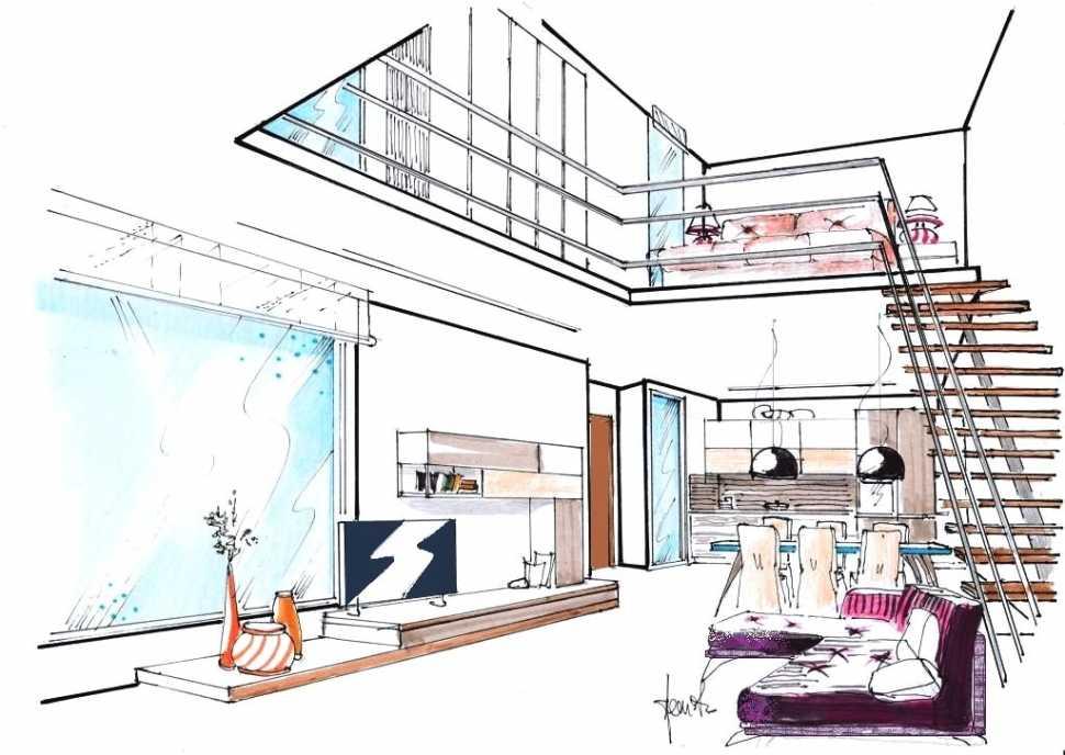 Progetto loft con soppalco: disegno prospettico globale