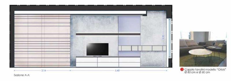 Progetto parete attrezzata zona relax casa