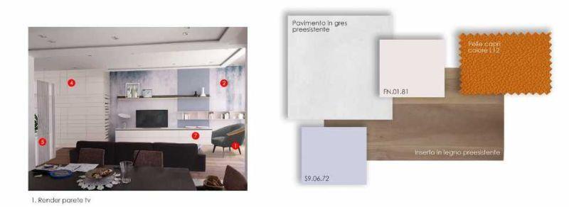 Studio materiali e combinazioni cromatiche per progetto zona relax