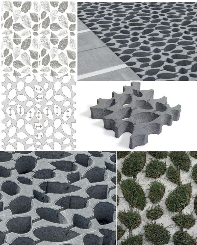 Concept degli elementi per prato carrabile in cemento 4Green di Tegolaia