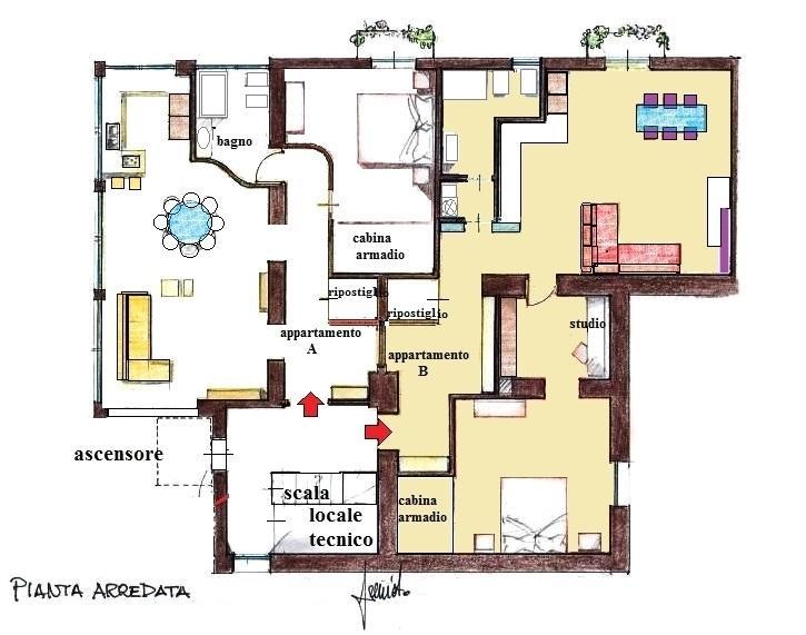 Frazionamento immobile in due appartamenti: pianta arredata