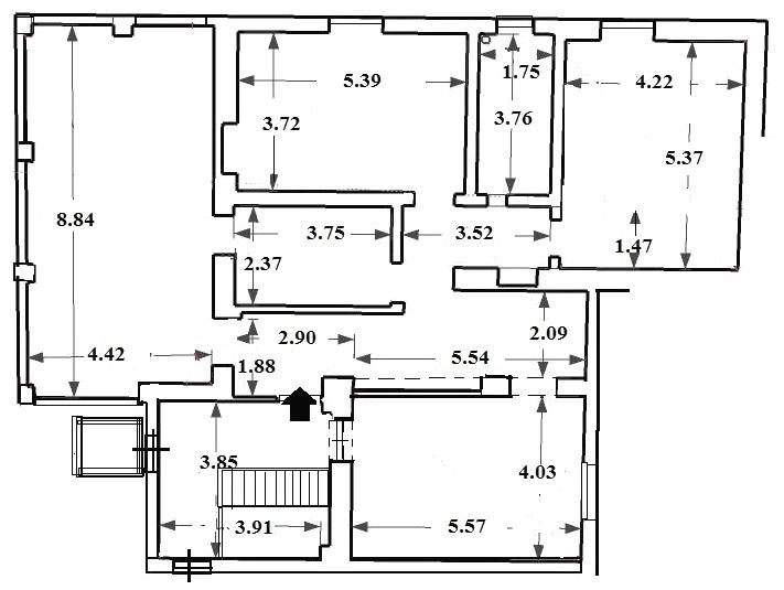 Appartamento da frazionare: pianta stato di fatto