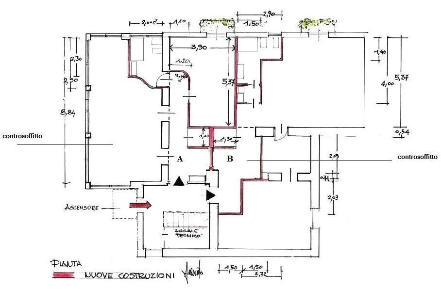 Frazionamento immobile in due appartamenti: progetto in pianta
