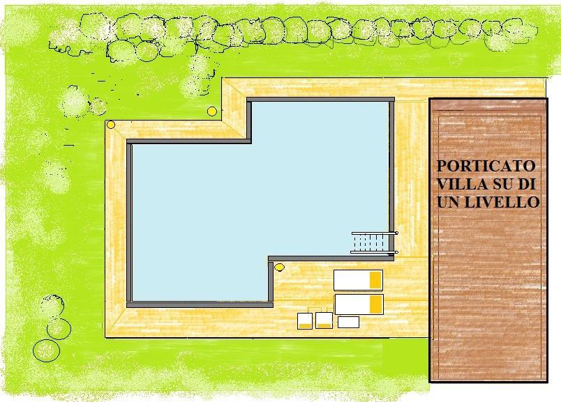 Esterno villa con piscina a sfioro: pianta di progetto