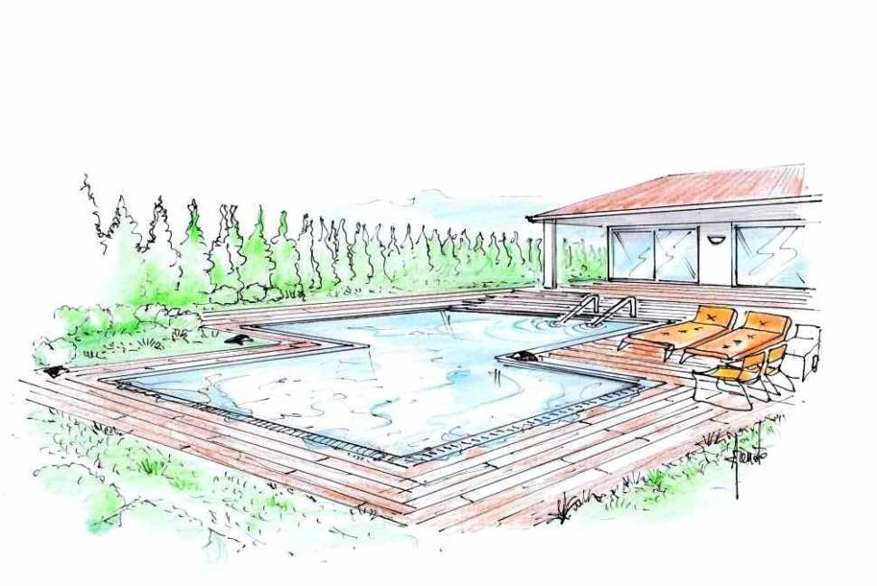 Piscina a sfioro per villa: disegno prospettico del progetto
