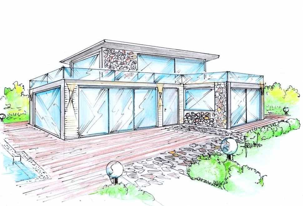 Pareti finestrate tutto vetro: progetto villa