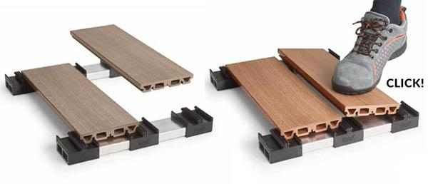 Sistema per pavimenti flottanti di tipo decking Easy Click by IDecking