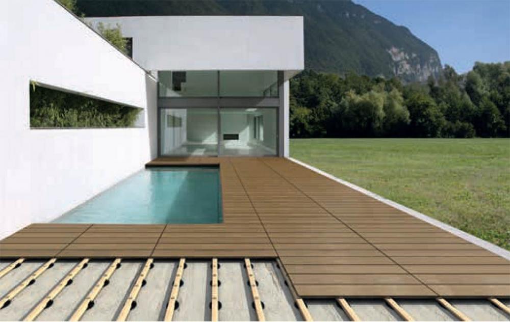 Pavimento flottante in legno per esterni su travetti in legno, by Eterno Ivica