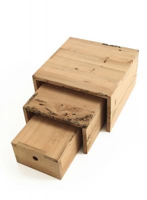 Mobili in legno grezzo Riva1920, design Piero Lissoni