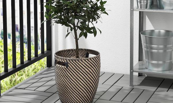 Vaso per gerani RÅGKORN in polietilene, effetto naturale - Design by Ikea