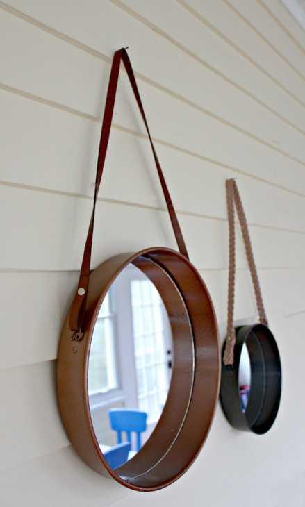 Specchio ricavato da una vecchia teglia, risultato. Da viewfromthefridge.com