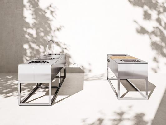 Cucine da esterno componibili in acciaio inox, da Rok