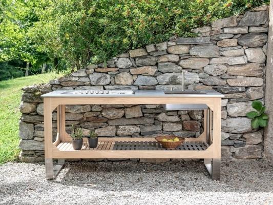 Cucina da esterno in acciaio e legno, da Lgtek