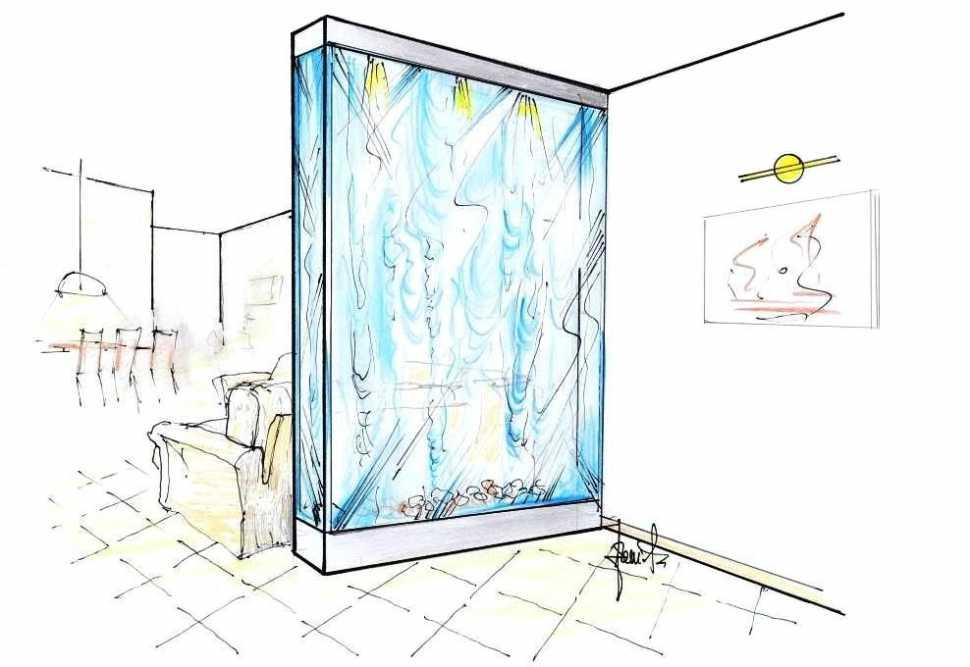 Parete d'acqua tra ingresso e salotto: disegno prospettico