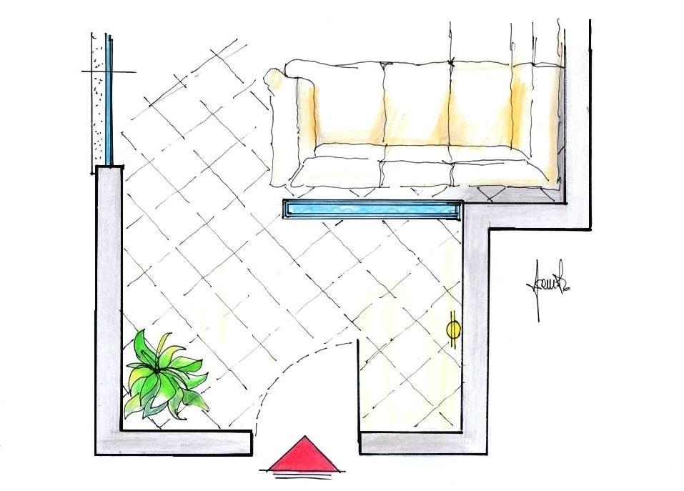 Parete d'acqua tra ingresso e salotto: pianta del progetto