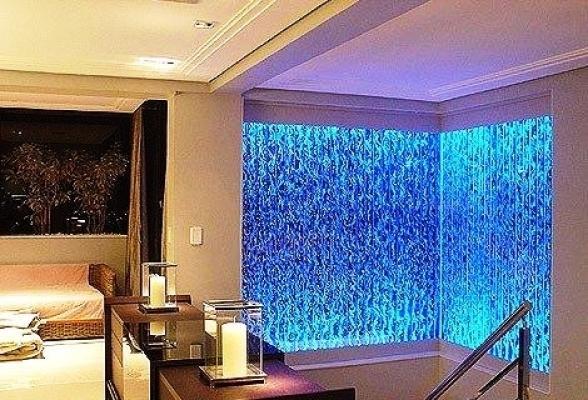 Muro d'acqua con bolle verticali  - Aqualed