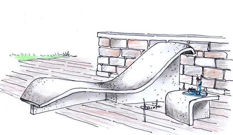 Chaise longue in cemento disegno