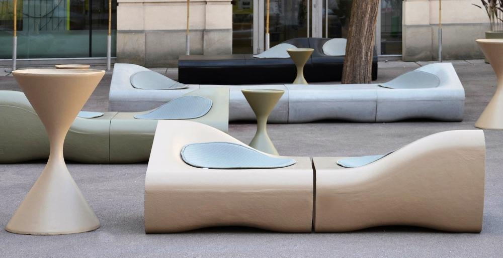 Sedute in cemento modulari Dune - Swisspearl® Italia
