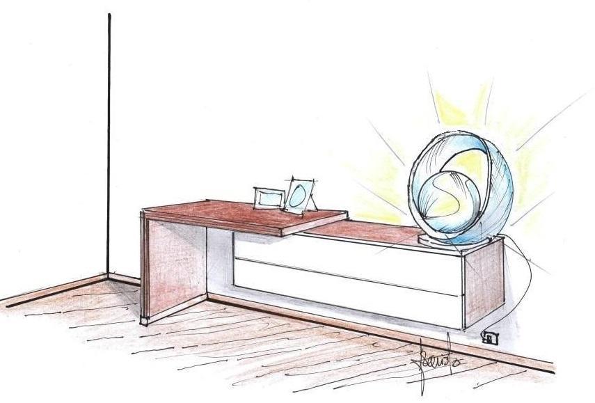 Disegno di lampada sfera con anello da tavolo