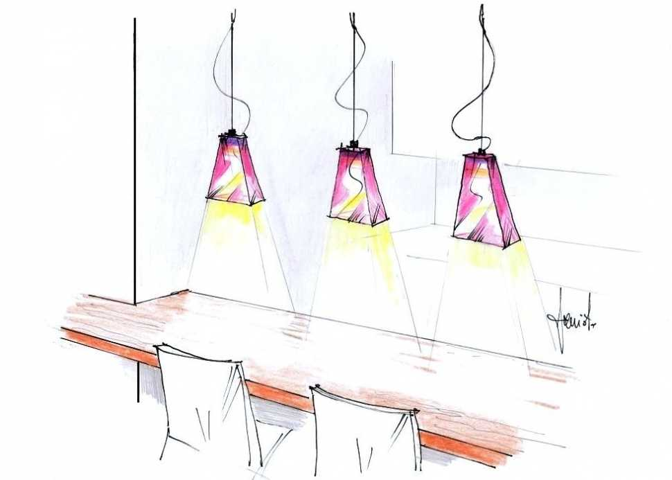 Lampade in vetro sospese sul bamcone cucina