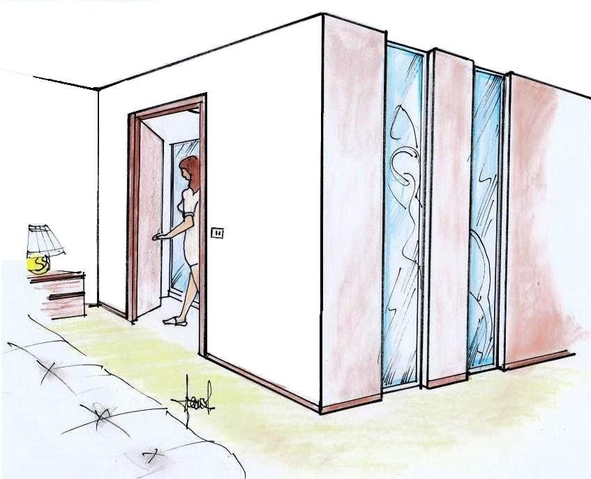 Bagno in camera con setti vetrati decorativi: disegno prospettico