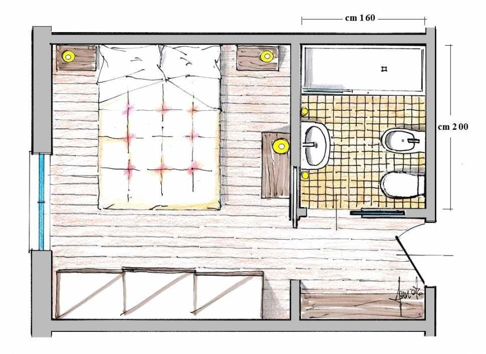 Ricavare un bagno in camera: pianta di progetto