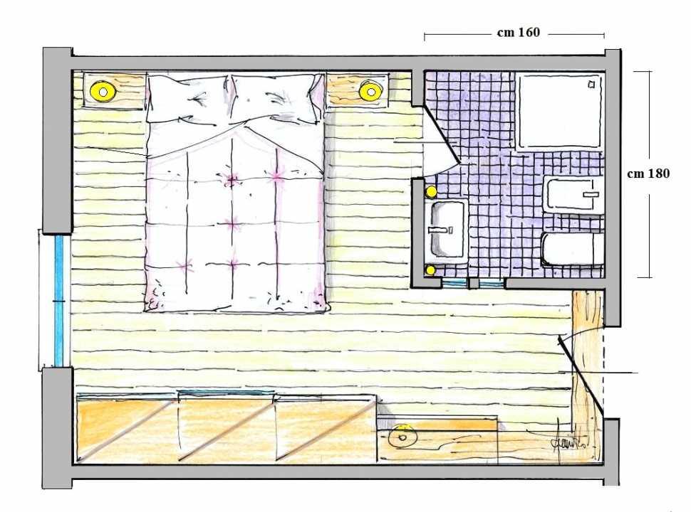 Ricavare un piccolo bagno in camera: pianta del progetto