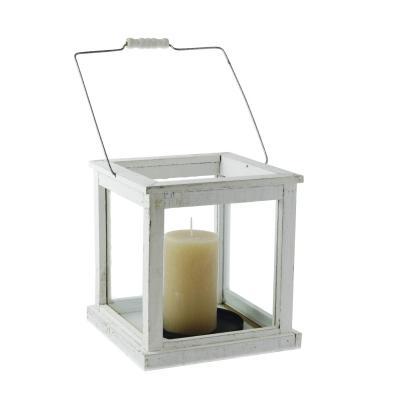 Lanterna quadrata in legno bianco Cà Dovani