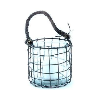 Lanterna porta candela in metallo e corda Cà Dovani