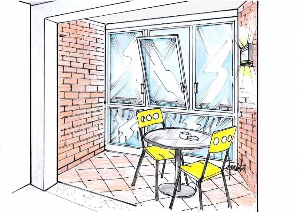 Veranda sul balcone per piccola zona colazione