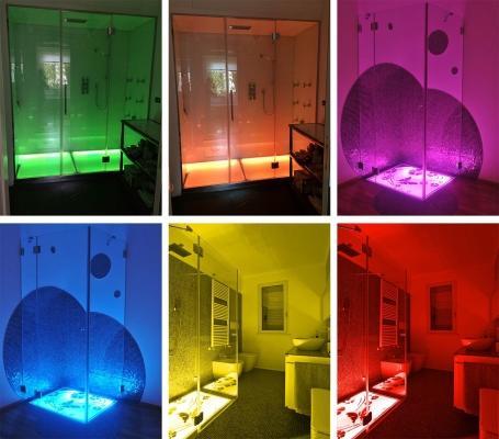 Effetti luminosi della pedana doccia Cromoterapia Karina di Silverplat