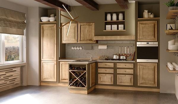 Versione più moderna della cucina in muratura Paolina Gianduia di Zappalorto