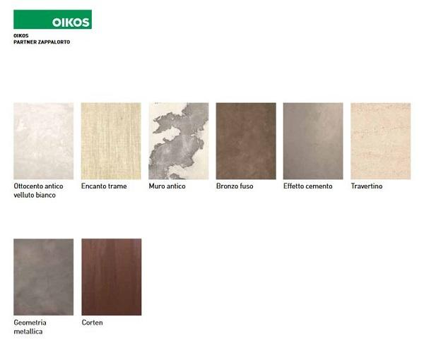 Campioni di finiture Oikos, partner per le cucine in muratura di Zappalorto