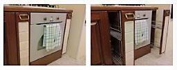Elementi in finta muratura in una cucina, portabottiglie o portadetersivi