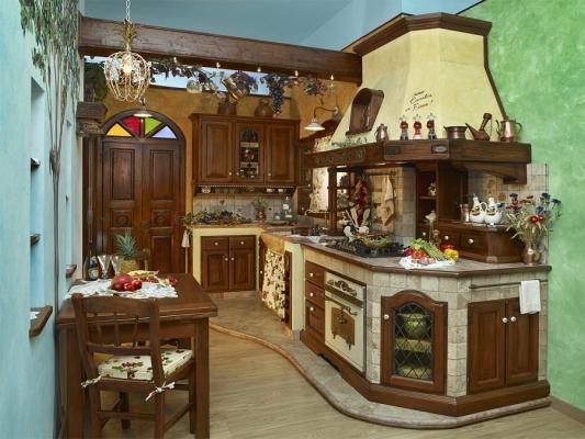 Fonte del Rustico, cucina in finta muratura angolare Camelia in Fiore
