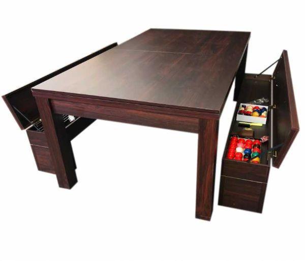 Tavolo da biliardo e da pranzo con panche contenitore di Simbashopping.com