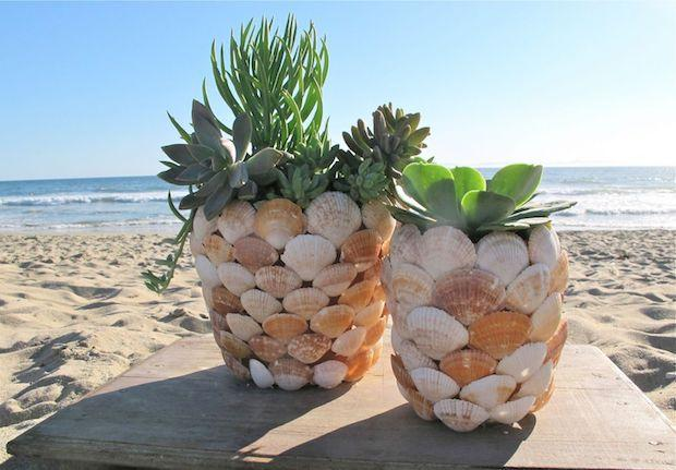Decorazioni conchiglie: vasi per piante, lavoro finito,da billabong.com