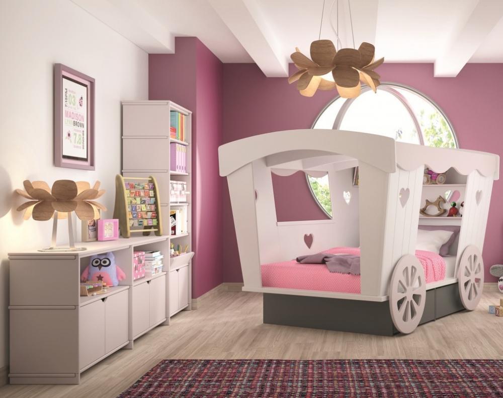 Letto singolo per bambina, linea Le Romantiques, modello LIT Roulotte - Design e foto di Mathy By Bols
