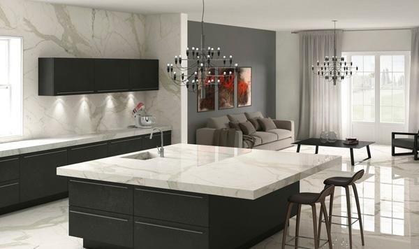 Lastre finto marmo effetto Calacatta Oro - Design e foto by Bertolani Ceramiche